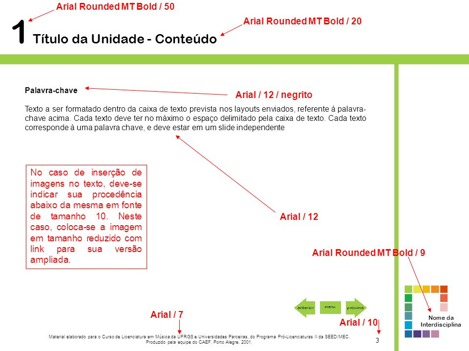 1 Título da Unidade - Conteúdo Palavra-chave Texto a ser formatado dentro da caixa de texto prevista nos layouts enviados, referente à palavra- chave