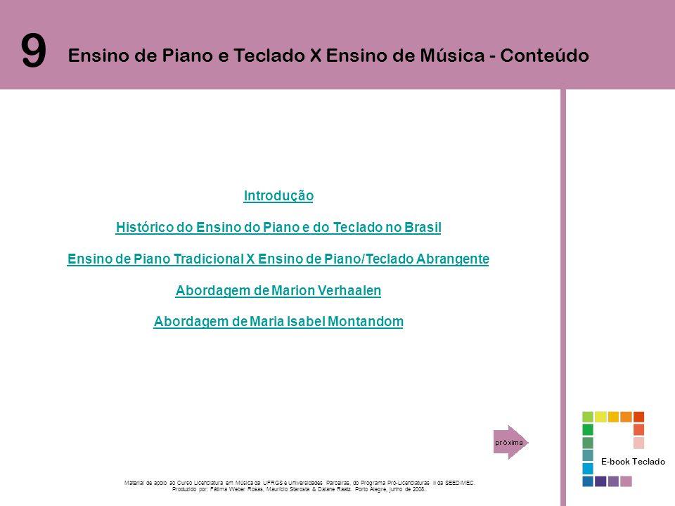 Introdução Histórico do Ensino do Piano e do Teclado no Brasil Ensino de Piano Tradicional X Ensino de Piano/Teclado Abrangente Abordagem de Marion Ve