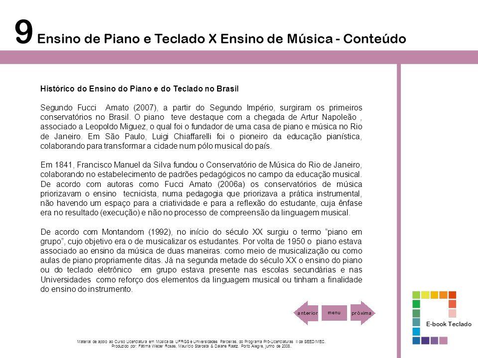 9 Ensino de Piano e Teclado X Ensino de Música - Conteúdo Histórico do Ensino do Piano e do Teclado no Brasil Segundo Fucci Amato (2007), a partir do