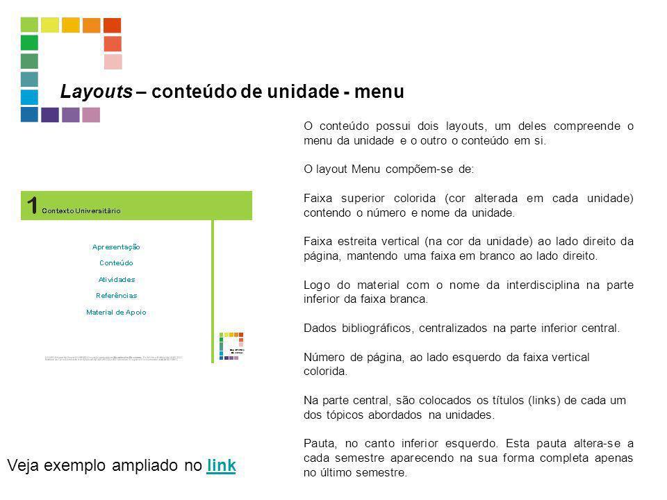 Layouts – conteúdo de unidade - menu Veja exemplo ampliado no linklink O conteúdo possui dois layouts, um deles compreende o menu da unidade e o outro