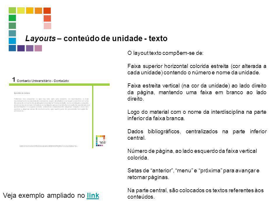 Layouts – conteúdo de unidade - texto Veja exemplo ampliado no linklink O layout texto compõem-se de: Faixa superior horizontal colorida estreita (cor