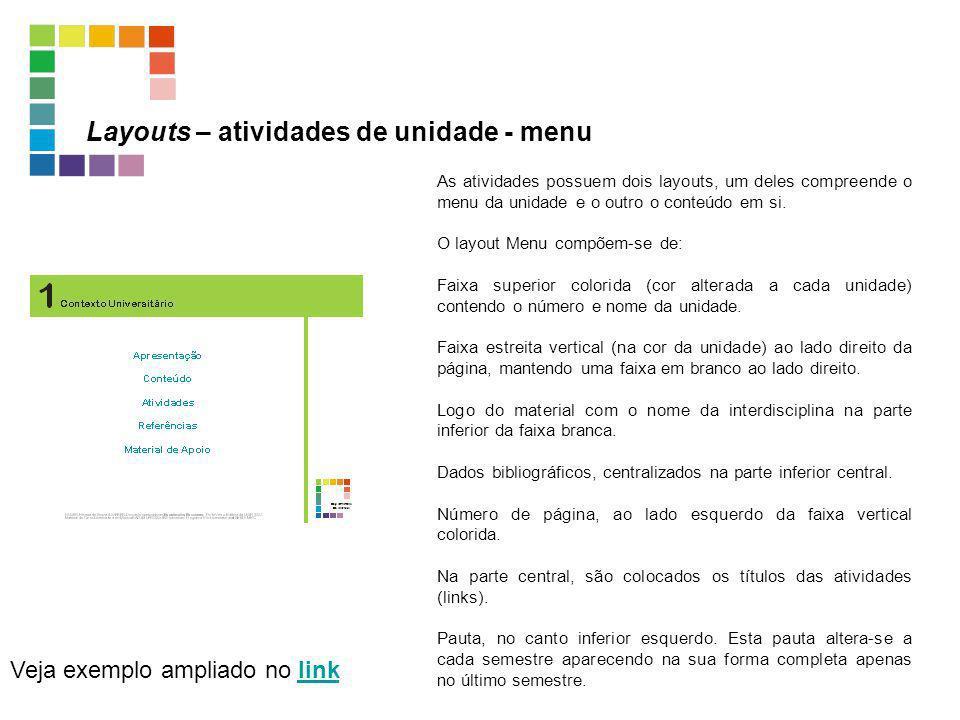 Layouts – atividades de unidade - menu Veja exemplo ampliado no linklink As atividades possuem dois layouts, um deles compreende o menu da unidade e o
