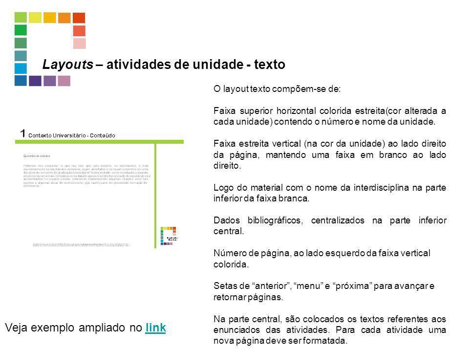 Layouts – atividades de unidade - texto Veja exemplo ampliado no linklink O layout texto compõem-se de: Faixa superior horizontal colorida estreita(co