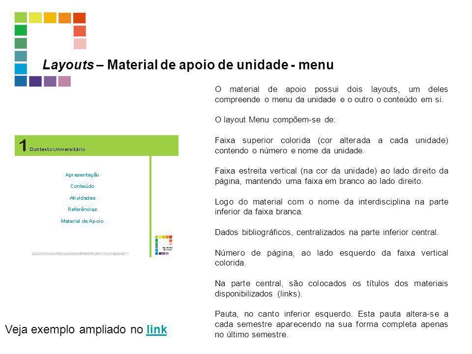 Layouts – Material de apoio de unidade - menu Veja exemplo ampliado no linklink O material de apoio possui dois layouts, um deles compreende o menu da