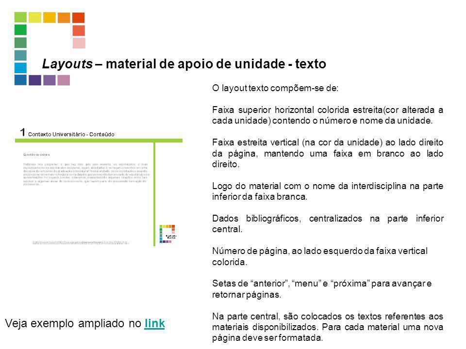 Layouts – material de apoio de unidade - texto Veja exemplo ampliado no linklink O layout texto compõem-se de: Faixa superior horizontal colorida estr