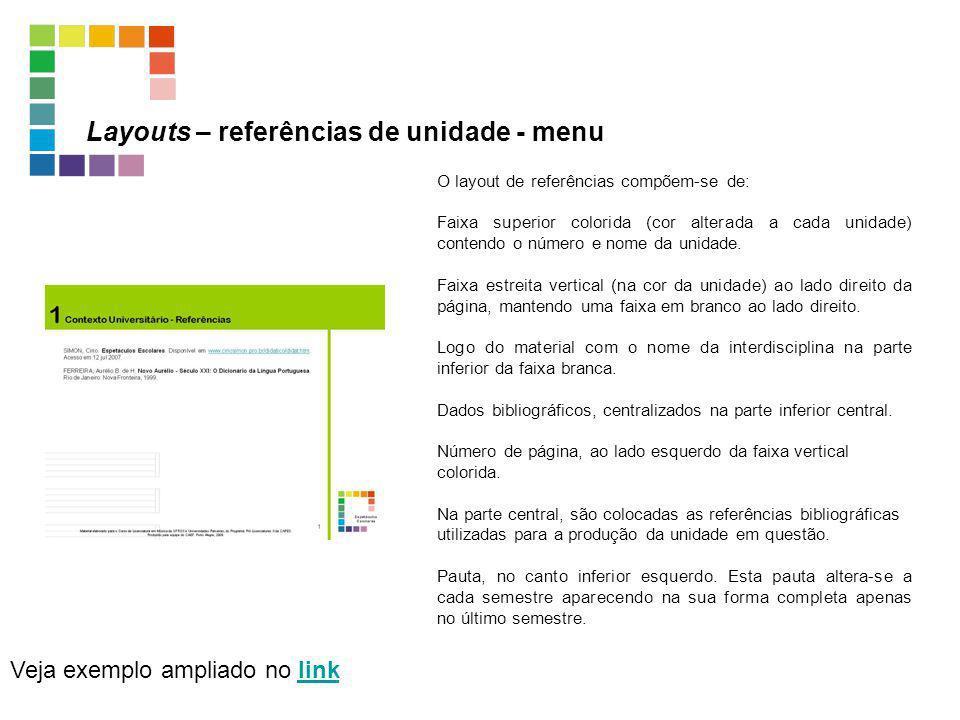 Layouts – referências de unidade - menu Veja exemplo ampliado no linklink O layout de referências compõem-se de: Faixa superior colorida (cor alterada