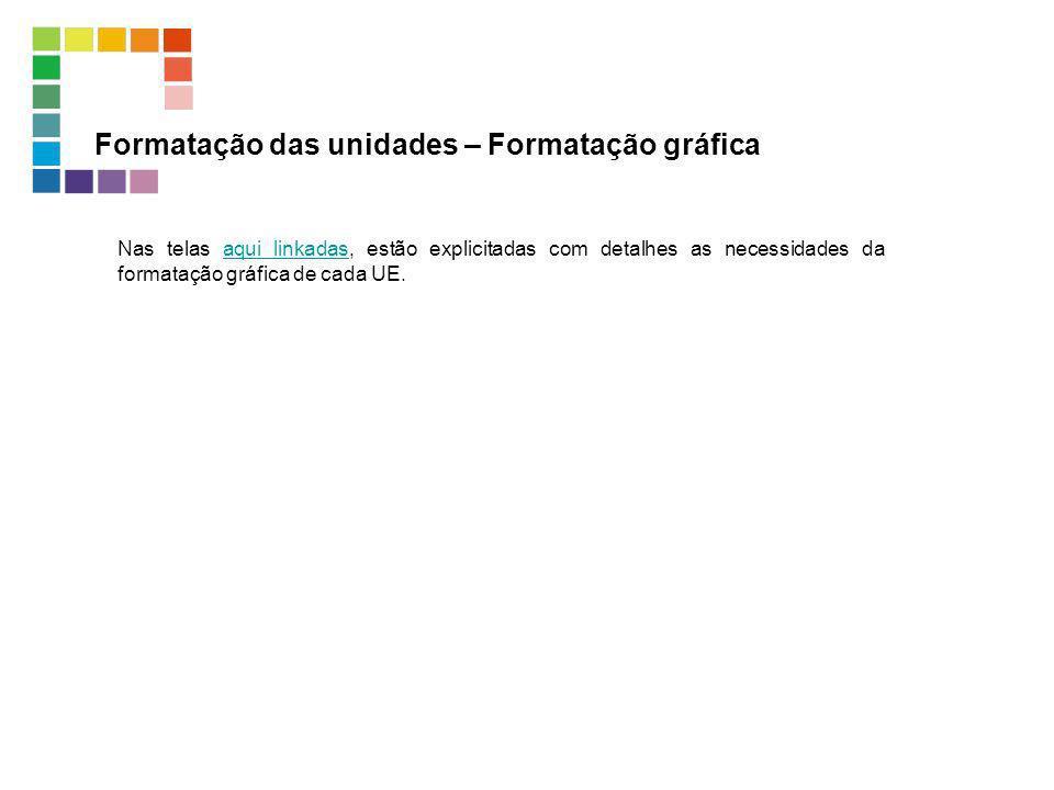 Formatação das unidades – Formatação gráfica Nas telas aqui linkadas, estão explicitadas com detalhes as necessidades da formatação gráfica de cada UE