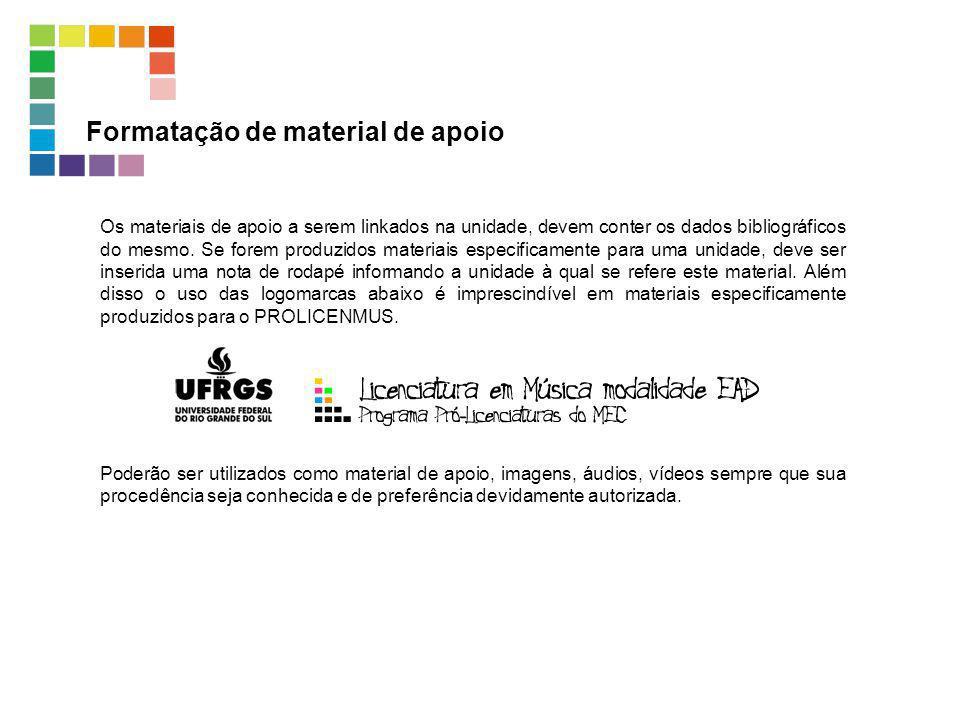 Formatação de material de apoio Os materiais de apoio a serem linkados na unidade, devem conter os dados bibliográficos do mesmo. Se forem produzidos