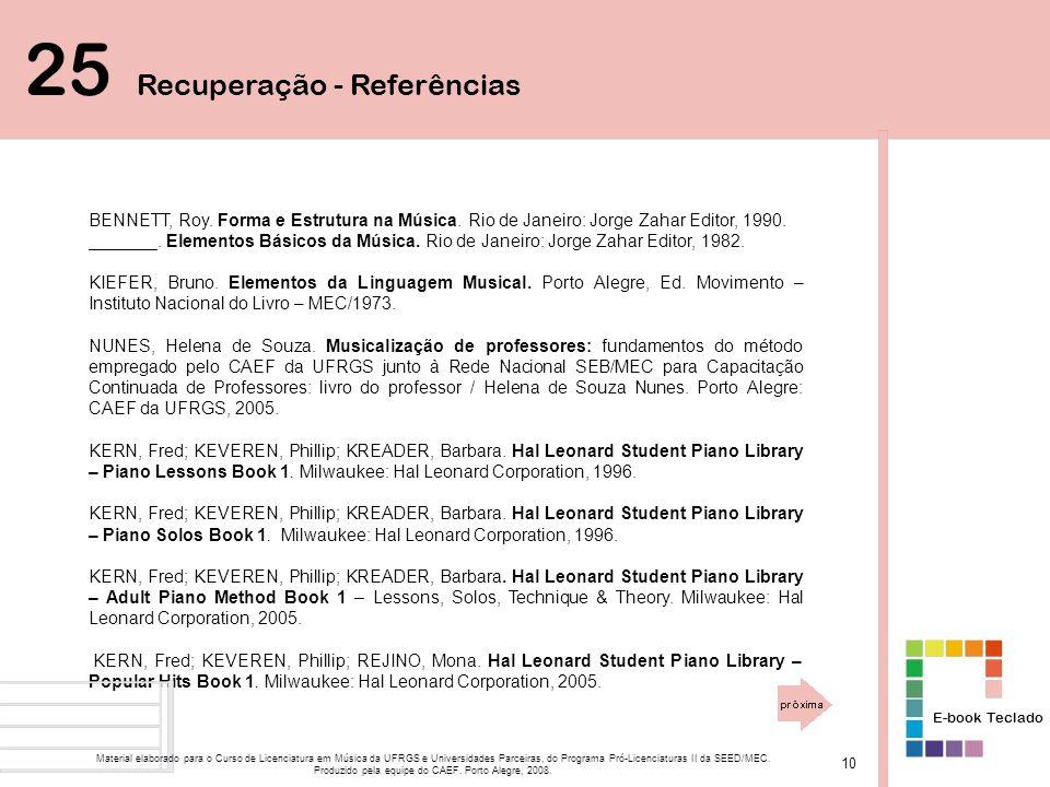 BENNETT, Roy.Forma e Estrutura na Música. Rio de Janeiro: Jorge Zahar Editor, 1990.