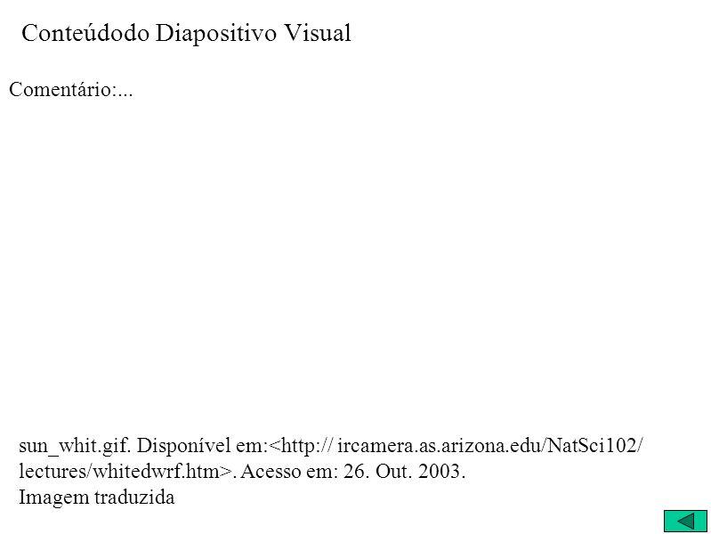 Conteúdodo Diapositivo Visual Comentário:... sun_whit.gif. Disponível em:. Acesso em: 26. Out. 2003. Imagem traduzida