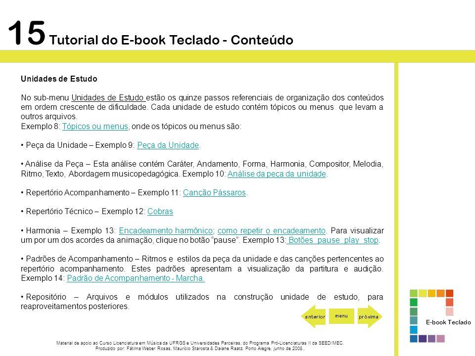 15 Tutorial do E-book Teclado - Conteúdo Unidades de Estudo No sub-menu Unidades de Estudo estão os quinze passos referenciais de organização dos cont