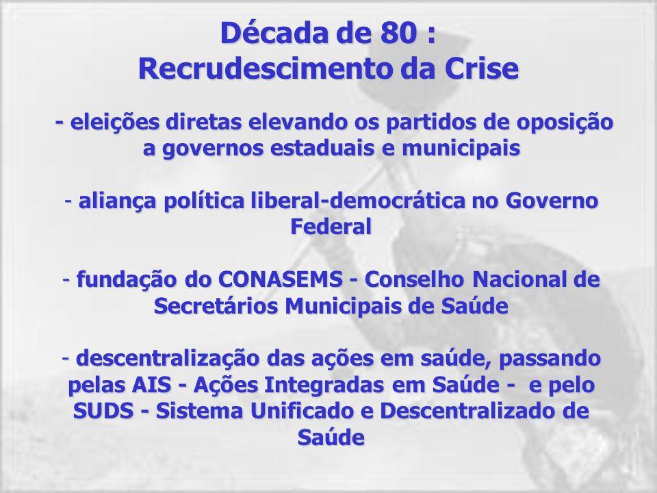 Final da década de 70 : Crise do Sistema Abertura política traz à cena atores dispostos a lutar pelo resgate da dívida social acumulada pela ditadura.