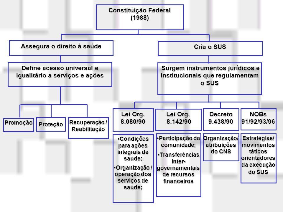 Regulamentação do SUS Lei 8.080 (Lei Orgânica da Saúde) Organização e funcionamento dos serviços de saúde Lei 8.142 : Participação social (Conselhos)