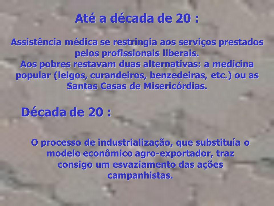 Brasil, início do século : Epidemias de malária, varíola, parasitoses, febre amarela, cólera e tuberculose,... (inspiração militar, estruturas vertica