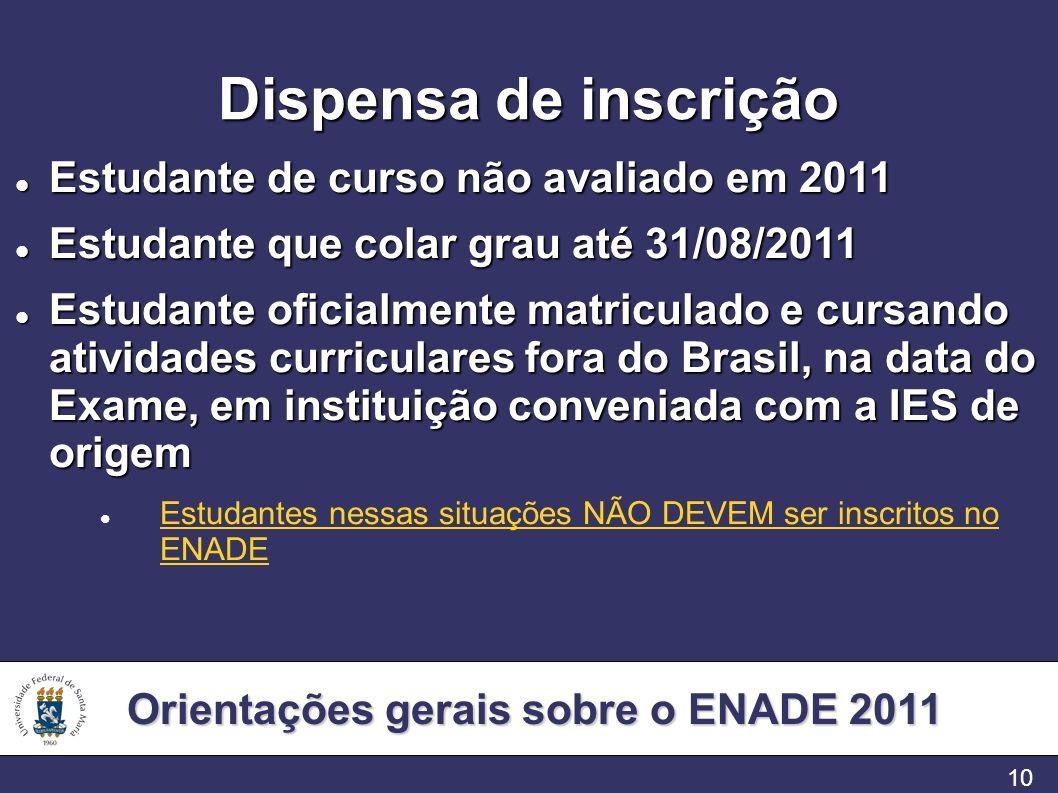 Orientações gerais sobre o ENADE 2011 10 Dispensa de inscrição Estudante de curso não avaliado em 2011 Estudante de curso não avaliado em 2011 Estudan