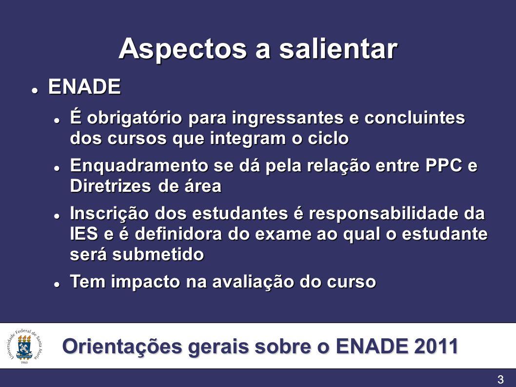 Orientações gerais sobre o ENADE 2011 3 Aspectos a salientar ENADE ENADE É obrigatório para ingressantes e concluintes dos cursos que integram o ciclo
