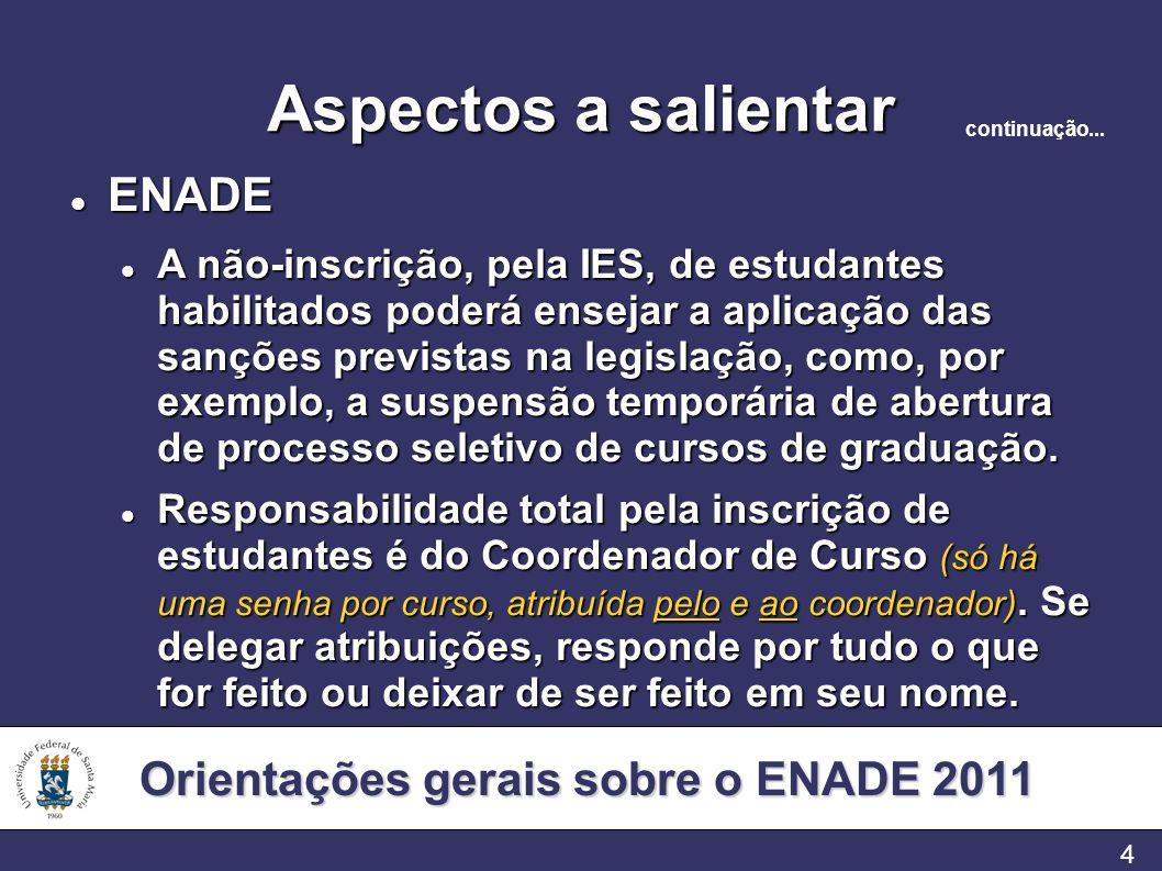 Orientações gerais sobre o ENADE 2011 4 Aspectos a salientar ENADE ENADE A não-inscrição, pela IES, de estudantes habilitados poderá ensejar a aplicaç