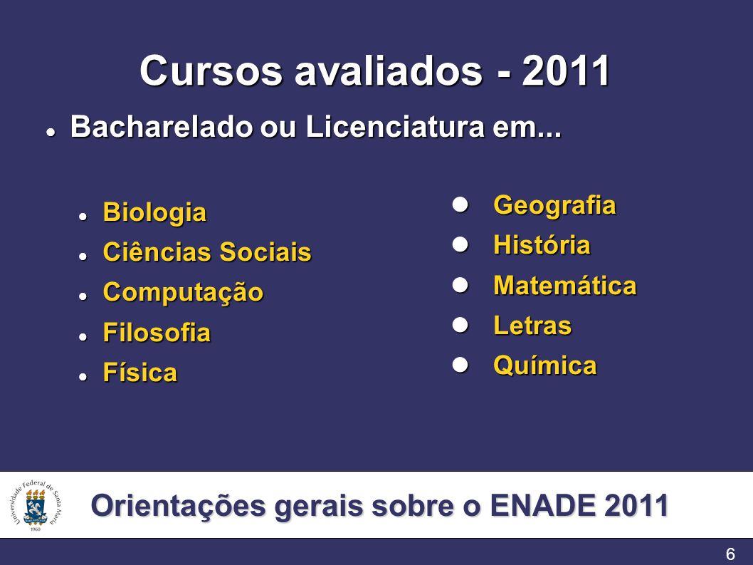 Orientações gerais sobre o ENADE 2011 6 Cursos avaliados - 2011 Bacharelado ou Licenciatura em... Bacharelado ou Licenciatura em... Biologia Biologia