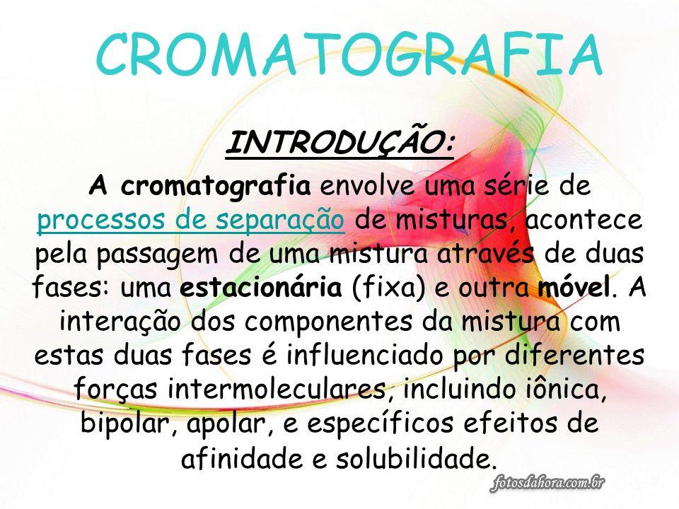 CROMATOGRAFIA INTRODUÇÃO: A cromatografia envolve uma série de processos de separação de misturas, acontece pela passagem de uma mistura através de du