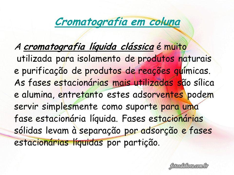 Cromatografia em coluna A cromatografia líquida clássica é muito utilizada para isolamento de produtos naturais e purificação de produtos de reações q