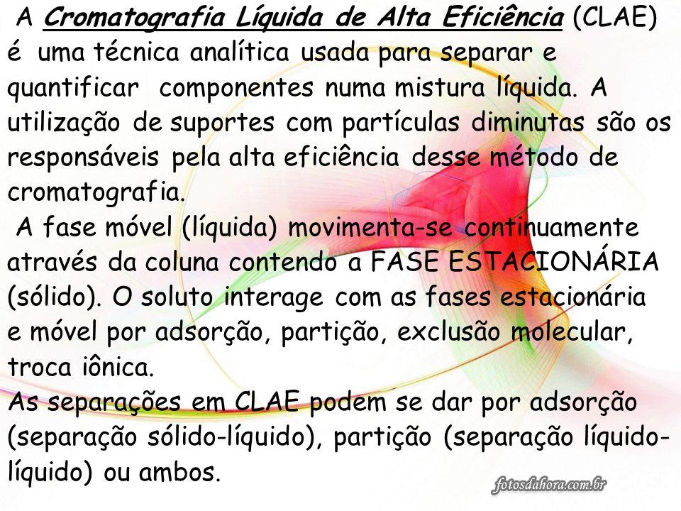 A Cromatografia Líquida de Alta Eficiência (CLAE) é uma técnica analítica usada para separar e quantificar componentes numa mistura líquida. A utiliza