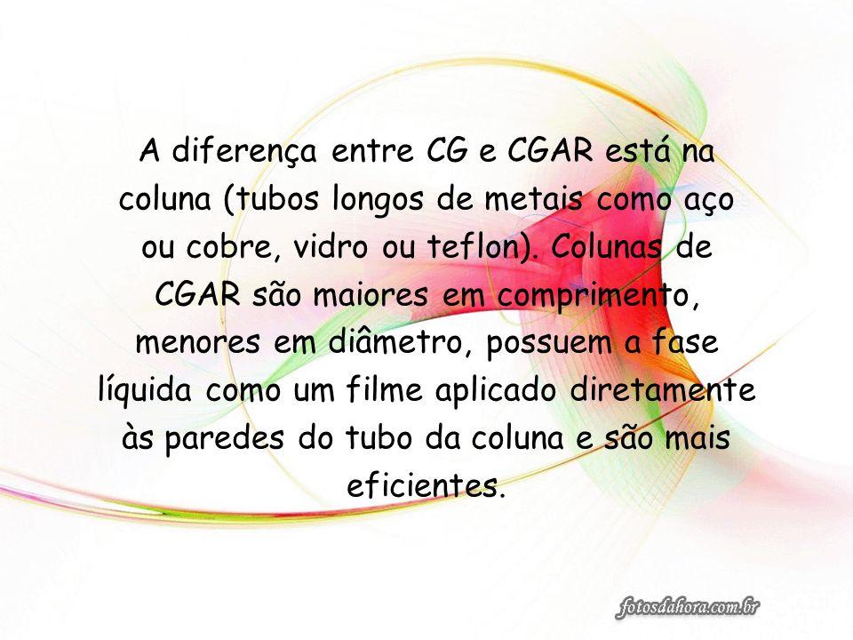A diferença entre CG e CGAR está na coluna (tubos longos de metais como aço ou cobre, vidro ou teflon). Colunas de CGAR são maiores em comprimento, me