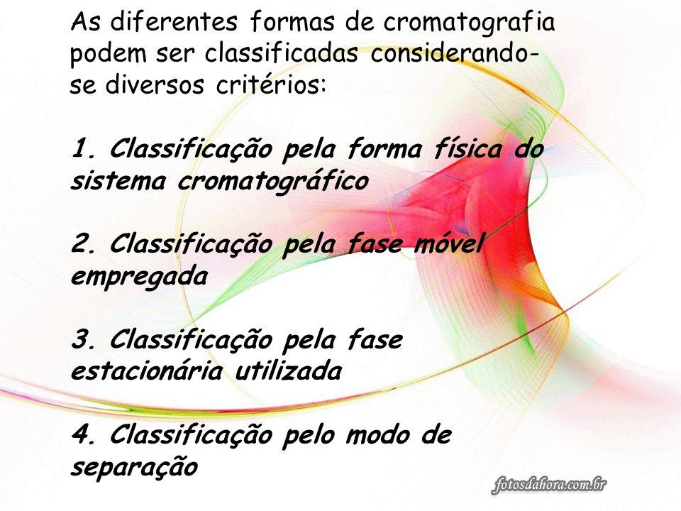As diferentes formas de cromatografia podem ser classificadas considerando- se diversos critérios: 1. Classificação pela forma física do sistema croma