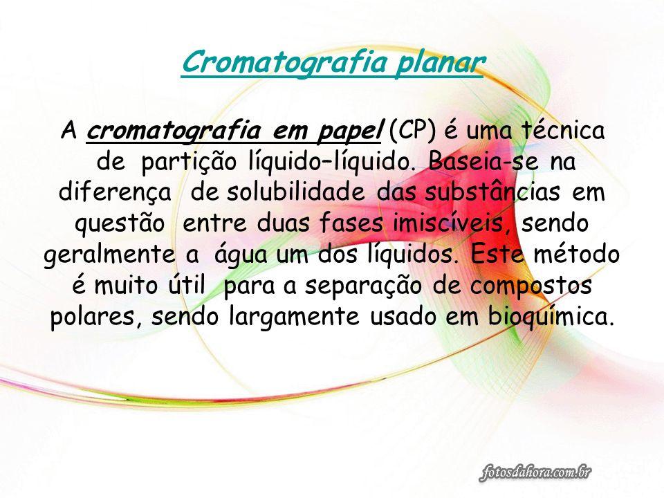 Cromatografia planar A cromatografia em papel (CP) é uma técnica de partição líquido–líquido. Baseia-se na diferença de solubilidade das substâncias e