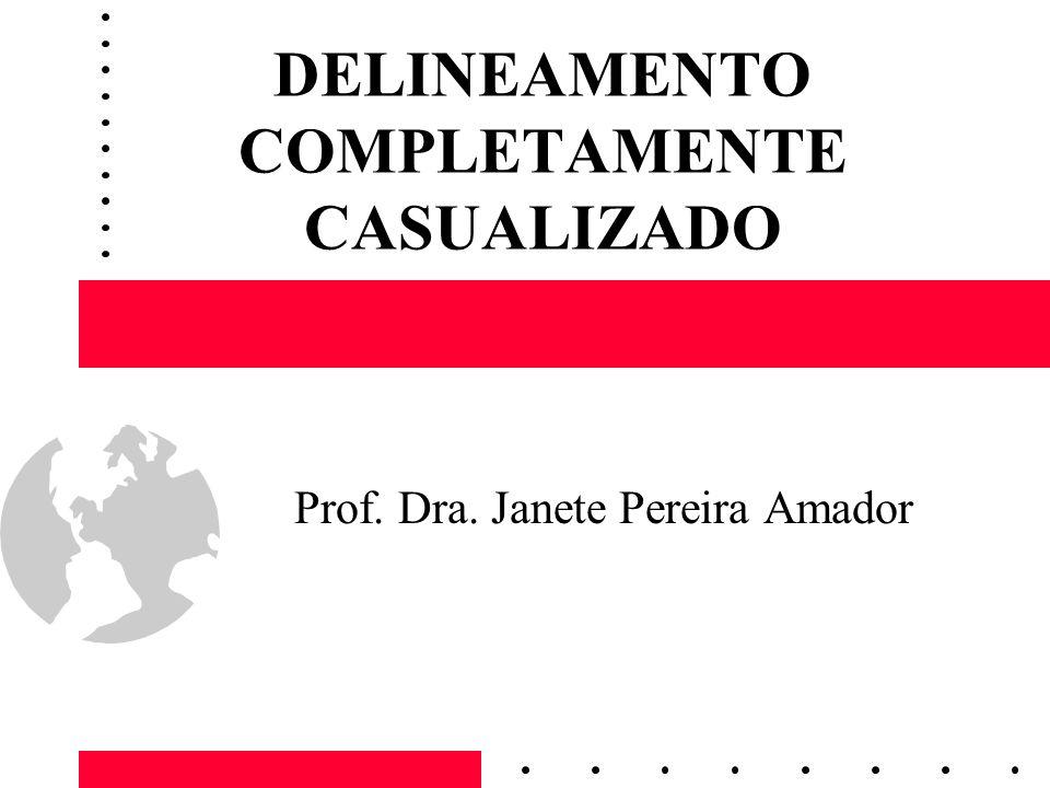DELINEAMENTO COMPLETAMENTE CASUALIZADO Prof. Dra. Janete Pereira Amador