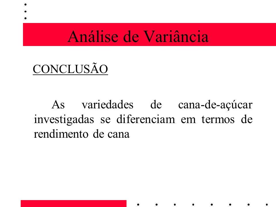 Análise de Variância CONCLUSÃO As variedades de cana-de-açúcar investigadas se diferenciam em termos de rendimento de cana