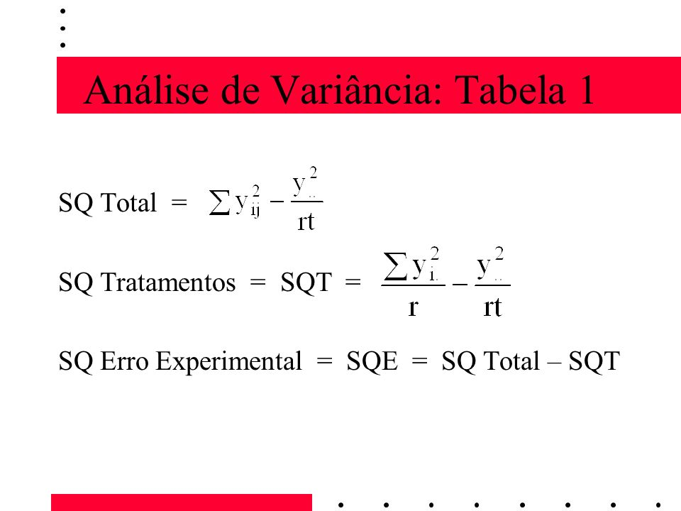 Análise de Variância: Tabela 1 SQ Total = SQ Tratamentos = SQT = SQ Erro Experimental = SQE = SQ Total – SQT