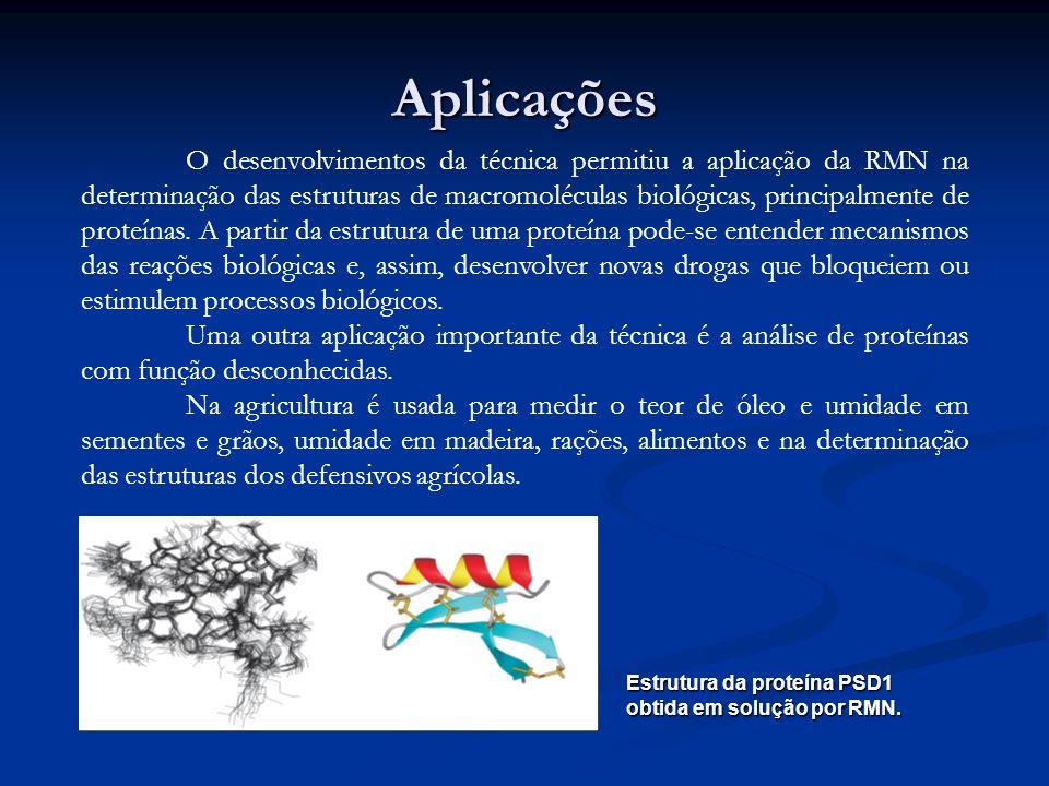 Aplicações O desenvolvimentos da técnica permitiu a aplicação da RMN na determinação das estruturas de macromoléculas biológicas, principalmente de pr