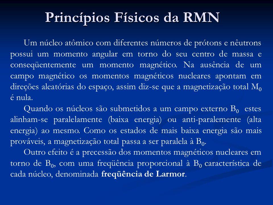 Princípios Físicos da RMN Um núcleo atômico com diferentes números de prótons e nêutrons possui um momento angular em torno do seu centro de massa e c