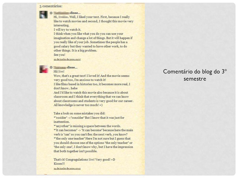 Comentário do blog do 3º semestre