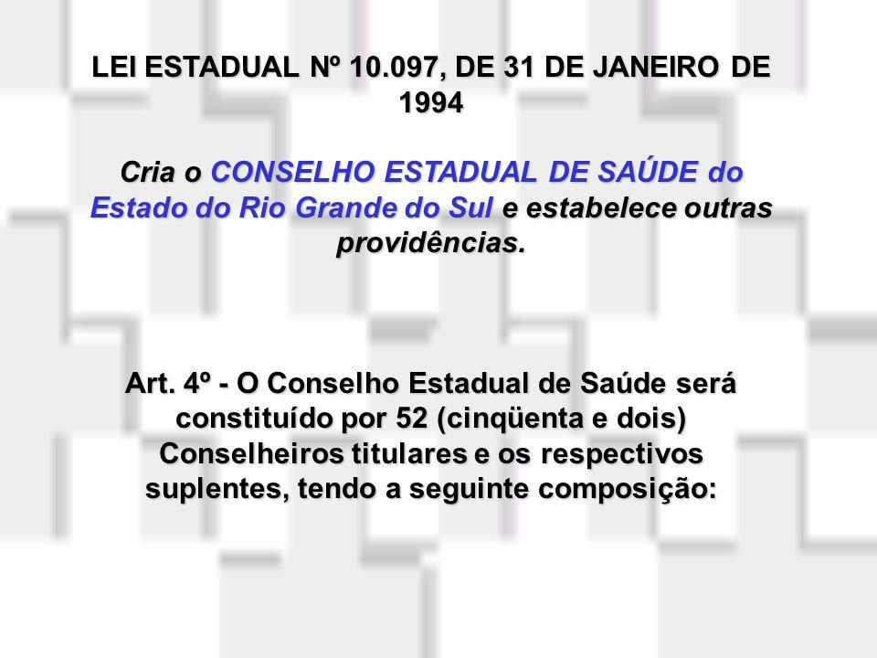 LEI ESTADUAL Nº 10.097, DE 31 DE JANEIRO DE 1994 Cria o CONSELHO ESTADUAL DE SAÚDE do Estado do Rio Grande do Sul e estabelece outras providências.