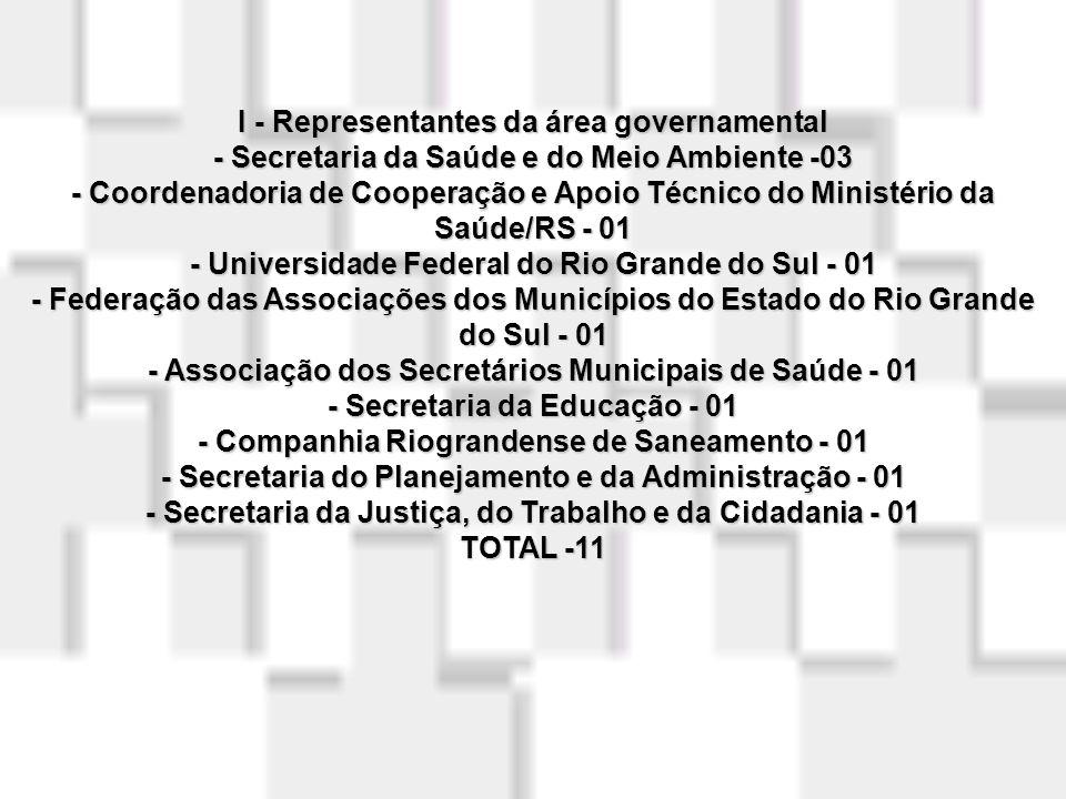 I - Representantes da área governamental - Secretaria da Saúde e do Meio Ambiente -03 - Coordenadoria de Cooperação e Apoio Técnico do Ministério da Saúde/RS - 01 - Universidade Federal do Rio Grande do Sul - 01 - Federação das Associações dos Municípios do Estado do Rio Grande do Sul - 01 - Associação dos Secretários Municipais de Saúde - 01 - Secretaria da Educação - 01 - Companhia Riograndense de Saneamento - 01 - Secretaria do Planejamento e da Administração - 01 - Secretaria da Justiça, do Trabalho e da Cidadania - 01 TOTAL -11