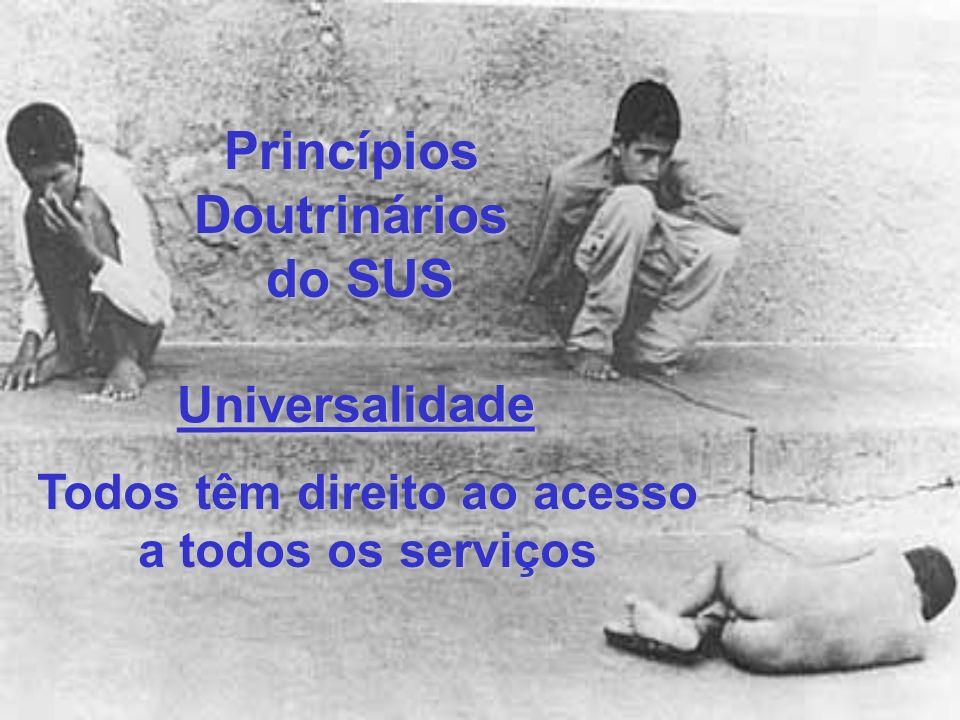 PrincípiosDoutrinários do SUS Todos têm direito a ações de promoção, proteção, recuperação e reabilitação da saúde Integralidade