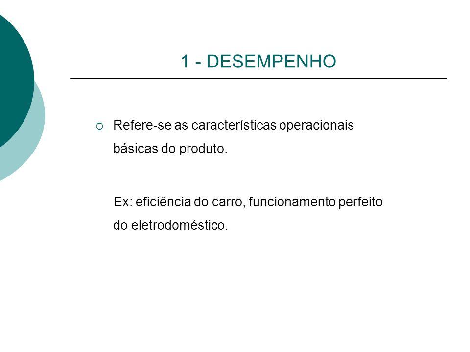 1 - DESEMPENHO Refere-se as características operacionais básicas do produto. Ex: eficiência do carro, funcionamento perfeito do eletrodoméstico.