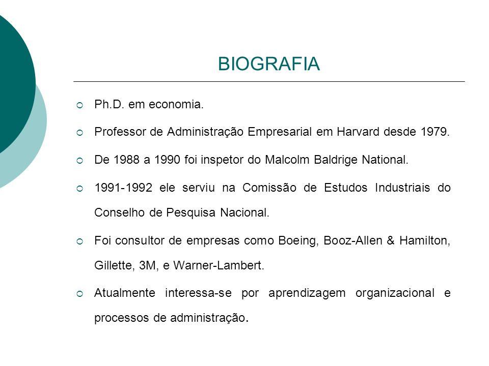 BIOGRAFIA Ph.D. em economia. Professor de Administração Empresarial em Harvard desde 1979. De 1988 a 1990 foi inspetor do Malcolm Baldrige National. 1