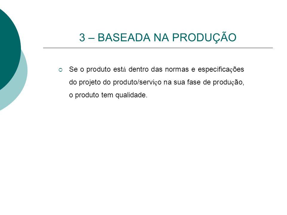 3 – BASEADA NA PRODUÇÃO Se o produto est á dentro das normas e especifica ç ões do projeto do produto/servi ç o na sua fase de produ ç ão, o produto t