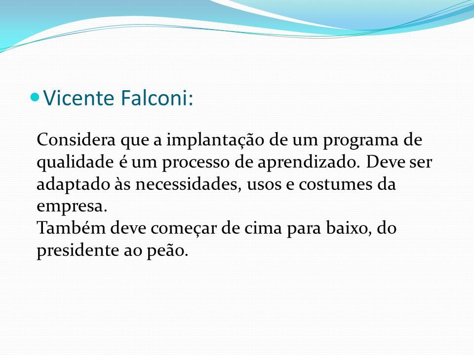 Vicente Falconi: Considera que a implantação de um programa de qualidade é um processo de aprendizado. Deve ser adaptado às necessidades, usos e costu