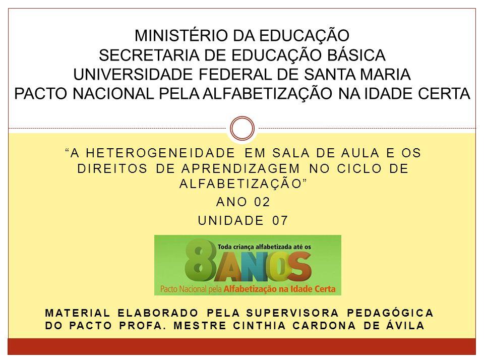 A HETEROGENEIDADE EM SALA DE AULA E OS DIREITOS DE APRENDIZAGEM NO CICLO DE ALFABETIZAÇÃO ANO 02 UNIDADE 07 MINISTÉRIO DA EDUCAÇÃO SECRETARIA DE EDUCAÇÃO BÁSICA UNIVERSIDADE FEDERAL DE SANTA MARIA PACTO NACIONAL PELA ALFABETIZAÇÃO NA IDADE CERTA MATERIAL ELABORADO PELA SUPERVISORA PEDAGÓGICA DO PACTO PROFA.
