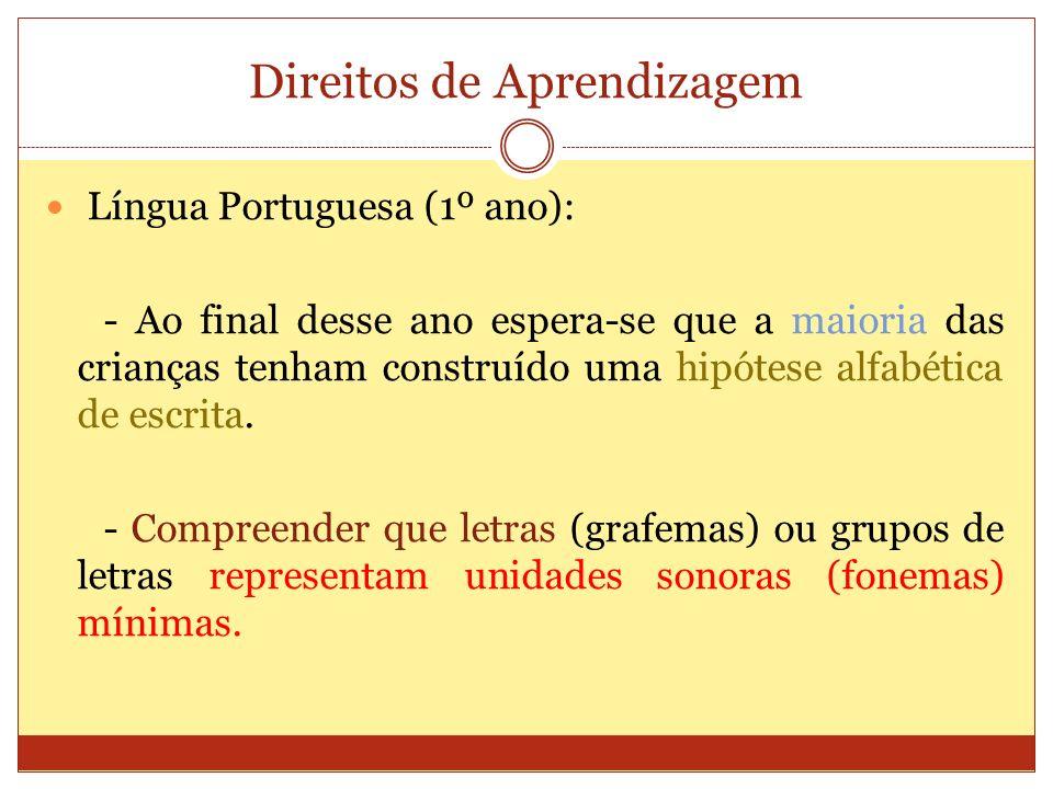 Direitos de Aprendizagem Língua Portuguesa (1º ano): - Ao final desse ano espera-se que a maioria das crianças tenham construído uma hipótese alfabética de escrita.