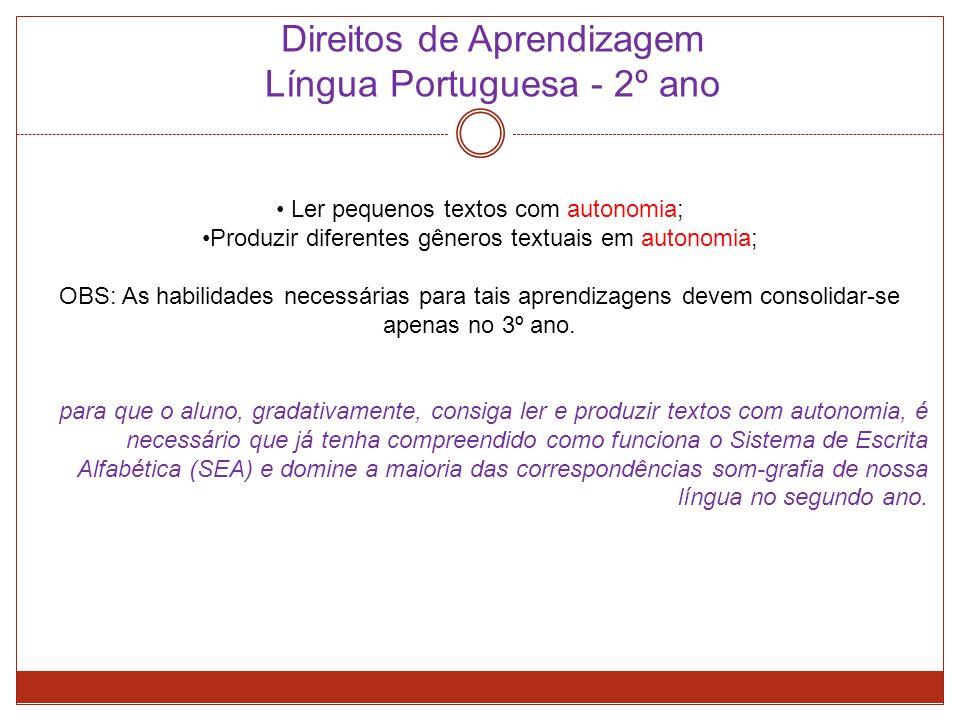 Direitos de Aprendizagem Língua Portuguesa - 2º ano Ler pequenos textos com autonomia; Produzir diferentes gêneros textuais em autonomia; OBS: As habilidades necessárias para tais aprendizagens devem consolidar-se apenas no 3º ano.