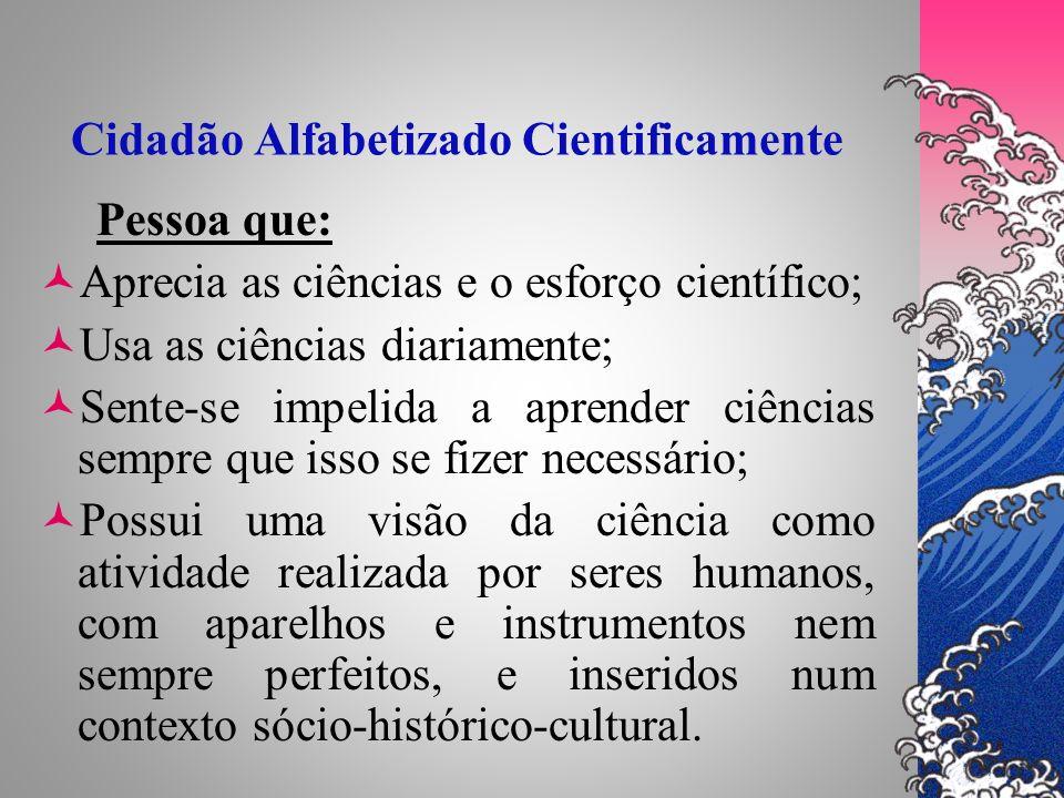 Cidadão Alfabetizado Cientificamente Pessoa que: Aprecia as ciências e o esforço científico; Usa as ciências diariamente; Sente-se impelida a aprender