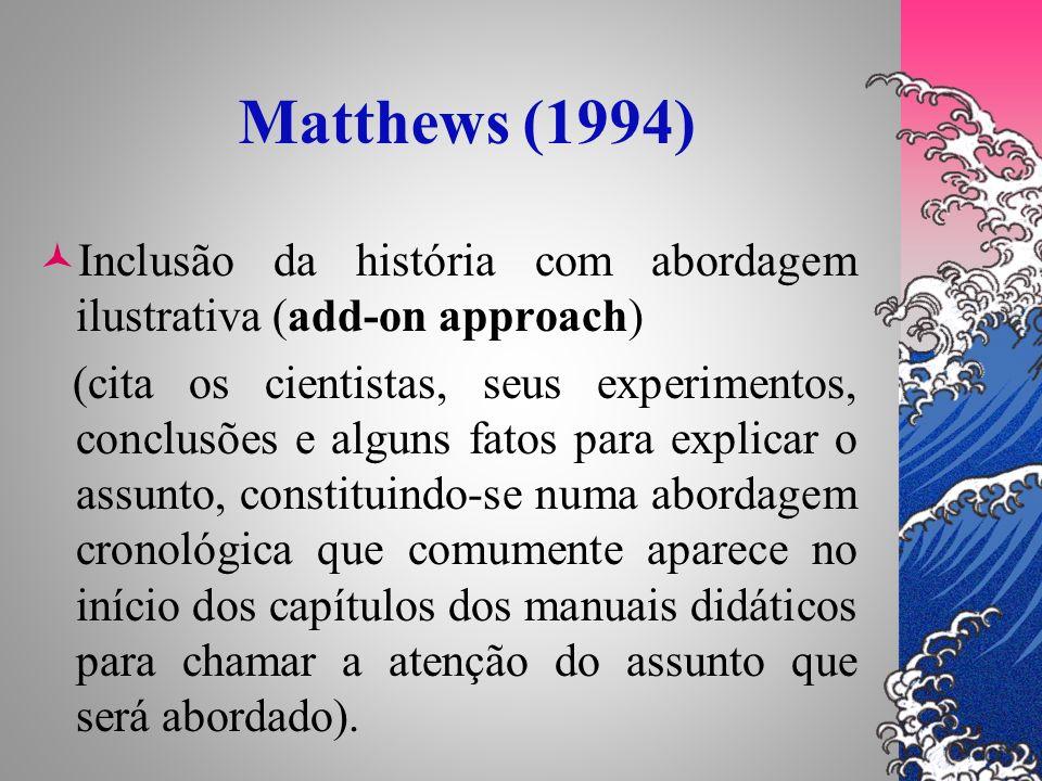 Matthews (1994) Inclusão da história com abordagem ilustrativa (add-on approach) (cita os cientistas, seus experimentos, conclusões e alguns fatos par