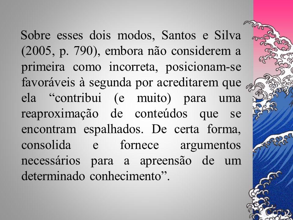 Sobre esses dois modos, Santos e Silva (2005, p. 790), embora não considerem a primeira como incorreta, posicionam-se favoráveis à segunda por acredit