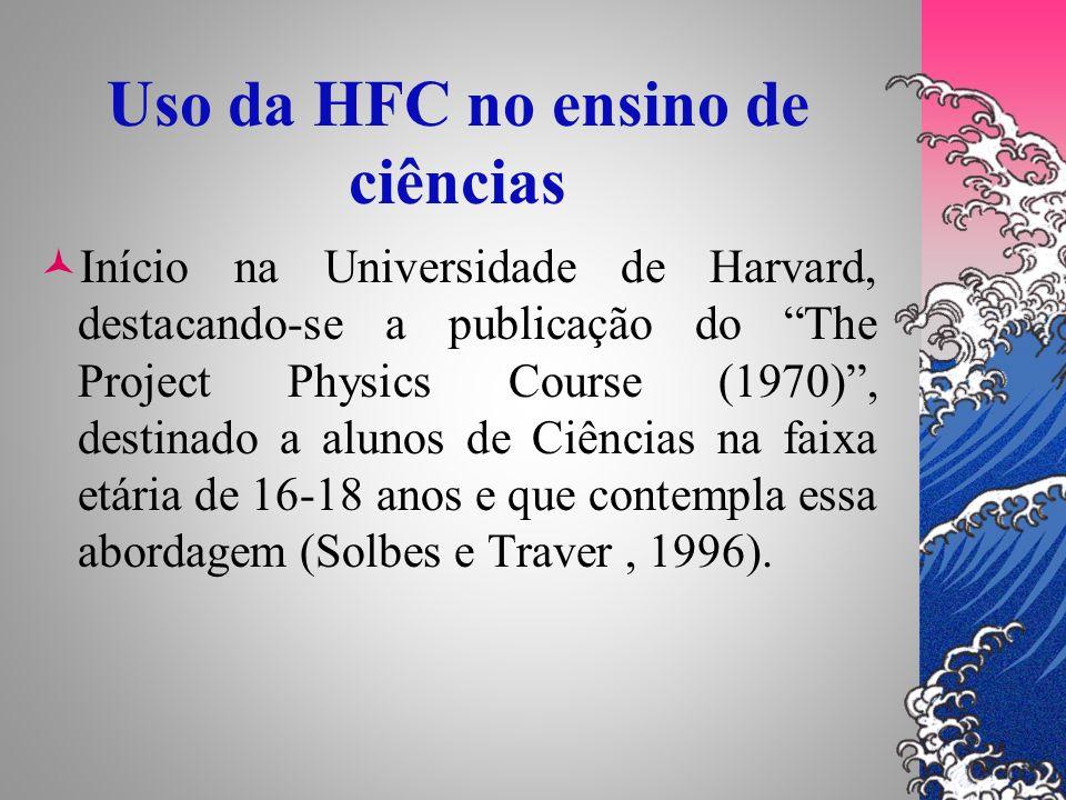 Uso da HFC no ensino de ciências Início na Universidade de Harvard, destacando-se a publicação do The Project Physics Course (1970), destinado a aluno