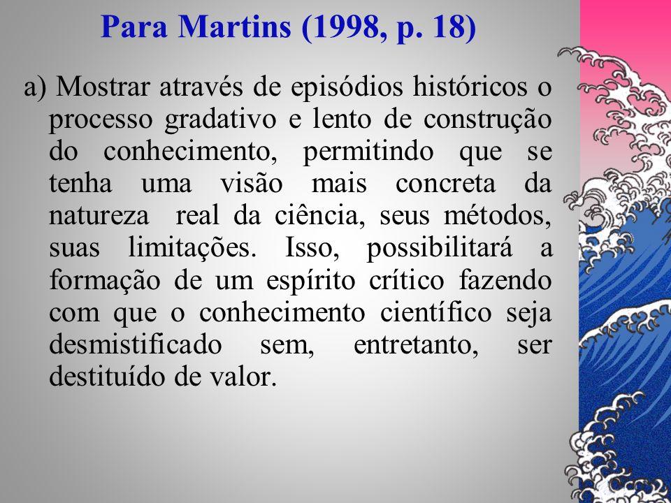 Para Martins (1998, p. 18) a) Mostrar através de episódios históricos o processo gradativo e lento de construção do conhecimento, permitindo que se te