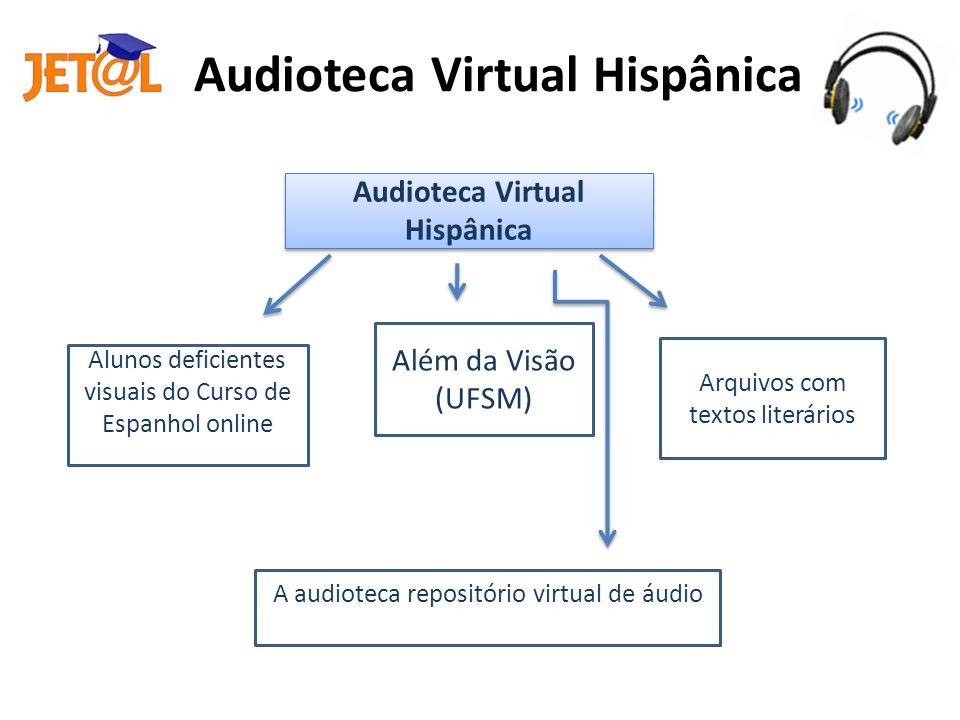 Audioteca Virtual Hispânica A Audioteca Virtual Hispânica tem como objetivo situar o estudante no processo evolutivo da língua espanhola através de seus autores mais destacados, gerando um processo de ambientação à língua meta (FONTANA, 2010).